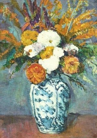 Bloemen in vaas, dahlia's, Paul Cézanne