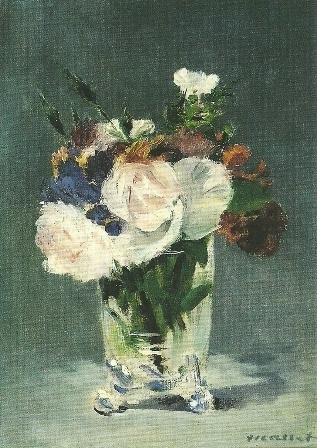 Bloemen in kristallen vaas, Edouard Manet