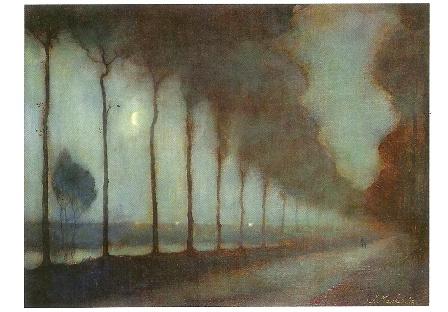 Avondlandschap met maan, Jan Mankes