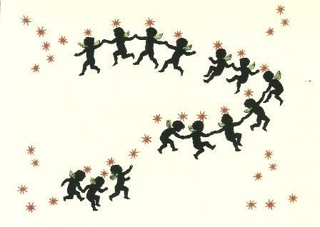 Engeltjes met rode sterren