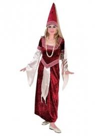 middeleeuwse jurk rood/wit