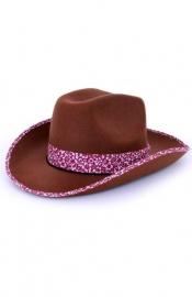 Cowgirl hoed bruin/roze