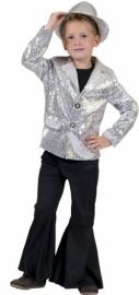 Glitter jasje / colbert zilver