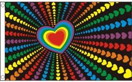 Vlag rainbow love 90x150cm
