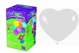 Helium klein 25 witte hartenballonnen