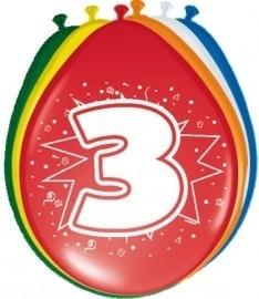 Ballonnen 3 jaar (assorti kleuren)