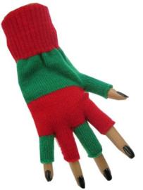 Vingerloze handschoen groen rood