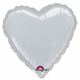 Folieballon hart zilver excl. helium