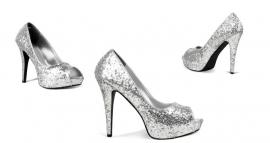 Pumps met zilver glitter