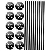 Ballonstokjes met houder zwart 10 stuks