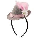 Tirools mini hoedje op diadeem roze