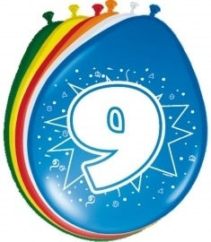 Ballonnen 9 jaar (assorti kleuren)
