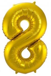 Folieballon 8 goud excl.