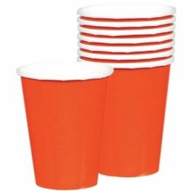 Oranje bekers 8 stuks
