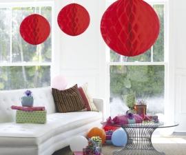 Honeycomb deco groot rood