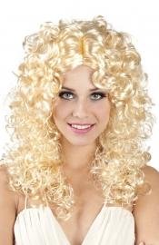 Pruik lang met krul blond