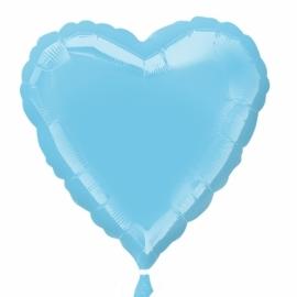 Folieballon hart lichtblauw incl. helium