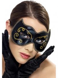 Oogmasker Venetiaans blauw/goud