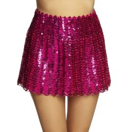 Mini kleedje pailletten hotpink