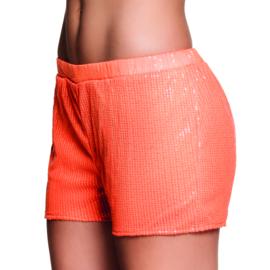 Hotpants sequins neon oranje