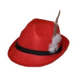 Tiroler hoedje deluxe rood