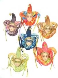 Broche porselein carnaval met glitters