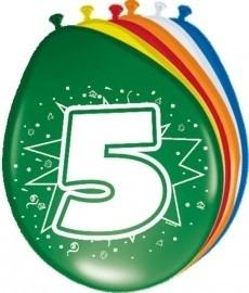 Ballonnen 5 jaar (assorti kleuren)