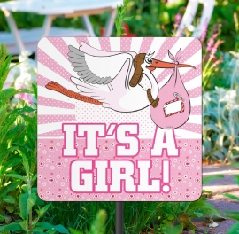 Tuinbord meisje geboren