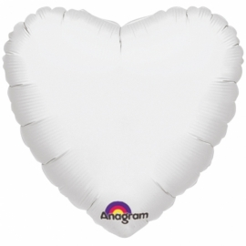 Folieballon hart wit excl. helium