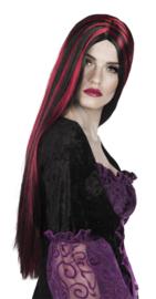 Pruik zwart rood lang