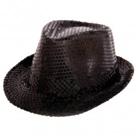Zwarte paillette Tribly hoed