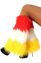 Pluche beenwarmers rood/wit/geel
