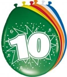 Ballonnen 10 jaar (assorti kleuren)