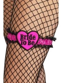 Kousenband roze/zwart Bride to be