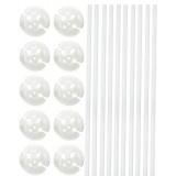 Ballonstokjes met houder wit 10 stuks