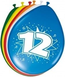 Ballonnen 12 jaar (assorti kleuren)