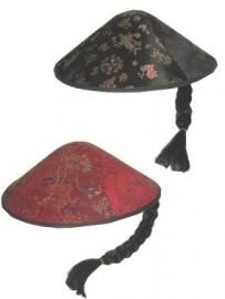 Chinese hoed met vlecht