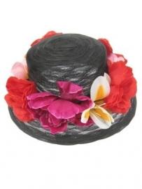 luxe hoed zwart+bloemen