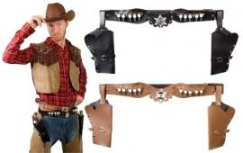 Cowboy riem met holsters zwart