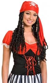 Piraten pruik zwart dames