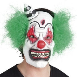 Clown met haar latex masker
