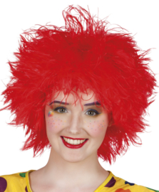 Clowns pruik frizzy rood