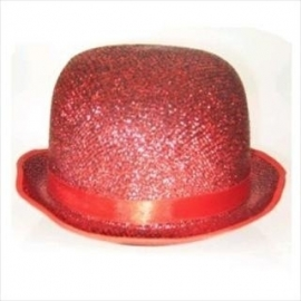Bolhoed caberet lurex glitter rood