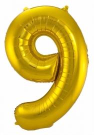 Folieballon 9 goud excl.