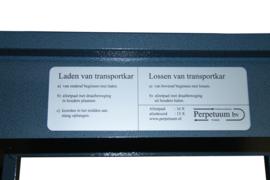 Transportwagen PFL t.b.v. 16 palen-40 koorden, palen liggen geklemd in rubbers - info