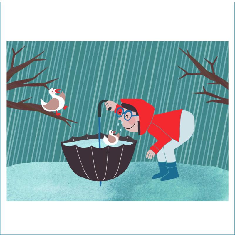 Poster:  Plezier in de regen