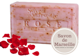 "Rose Soap with petals Enriched with almond oil ""Le Chatelard 1802 de Marseille"""
