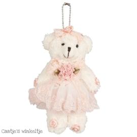 Decoratie beertje met jurkje roze 13 cm
