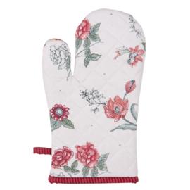 Ovenhandschoen bloemen roze/rood