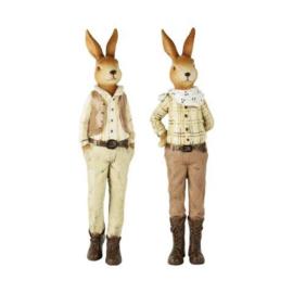 Set van 2 decoratie konijnen hij/zij (M)